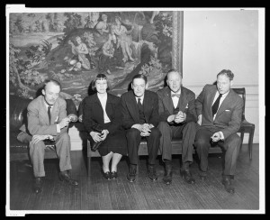 From left, poets Allen Tate, Léonie Adams, T.S. Eliot, Theodore Spencer and Robert Penn Warren attend the annual meeting of the Fellows of the Library of Congress in American Letters, November 1948. Prints and Photographs Division.