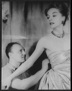 Portrait of Pierre Balmain and Ruth Ford making a dress. Photo by Carl Van Vechten, Nov. 9, 1947. Library of Congress Prints and Photographs Division.