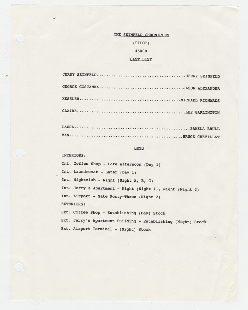"Script page from pilot episode of ""Seinfeld."" Motion Picture, Broadcasting and Recorded Sound Division."