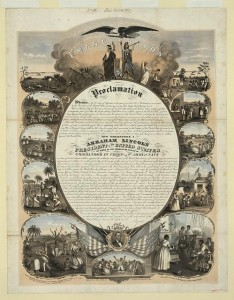 Emancipation Proclamation. Lithograph by L. Lipman, Milwaukee, Wisc., Feb. 26, 1864. Prints and Photographs Division.
