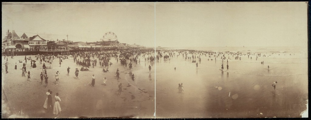 Panorama of beach and boardwalk from pier, Atlantic City. 1897. Prints and Photographs Division.