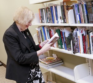 Barbara Tenenbaum checks to see if incoming titles should be included in the Handbook of Latin American Studies.
