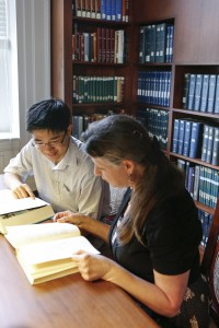Eugene Roh and Ann Brenner work in the African and Middle Eastern Division Reading Room. Photo by Shawn Miller.