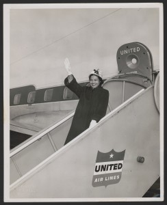 Rosa Parks waving from a United Air Lines jetway in Seattle, Washington. Photograph by Gil Baker, 1956. Rosa Parks Papers,  Library of Congress.