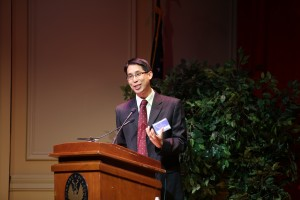 Gene Luen Yang addresses the audience at the 2014 National Book Festival gala. Photo by Amanda Reynolds.