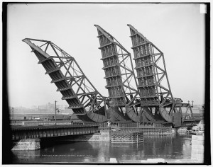 Tower bridges, Fort Point Channel, Boston, Mass. Photo by Detroit Publishing Co., 1904. Prints and Photographs Division. See photo in Flickr.