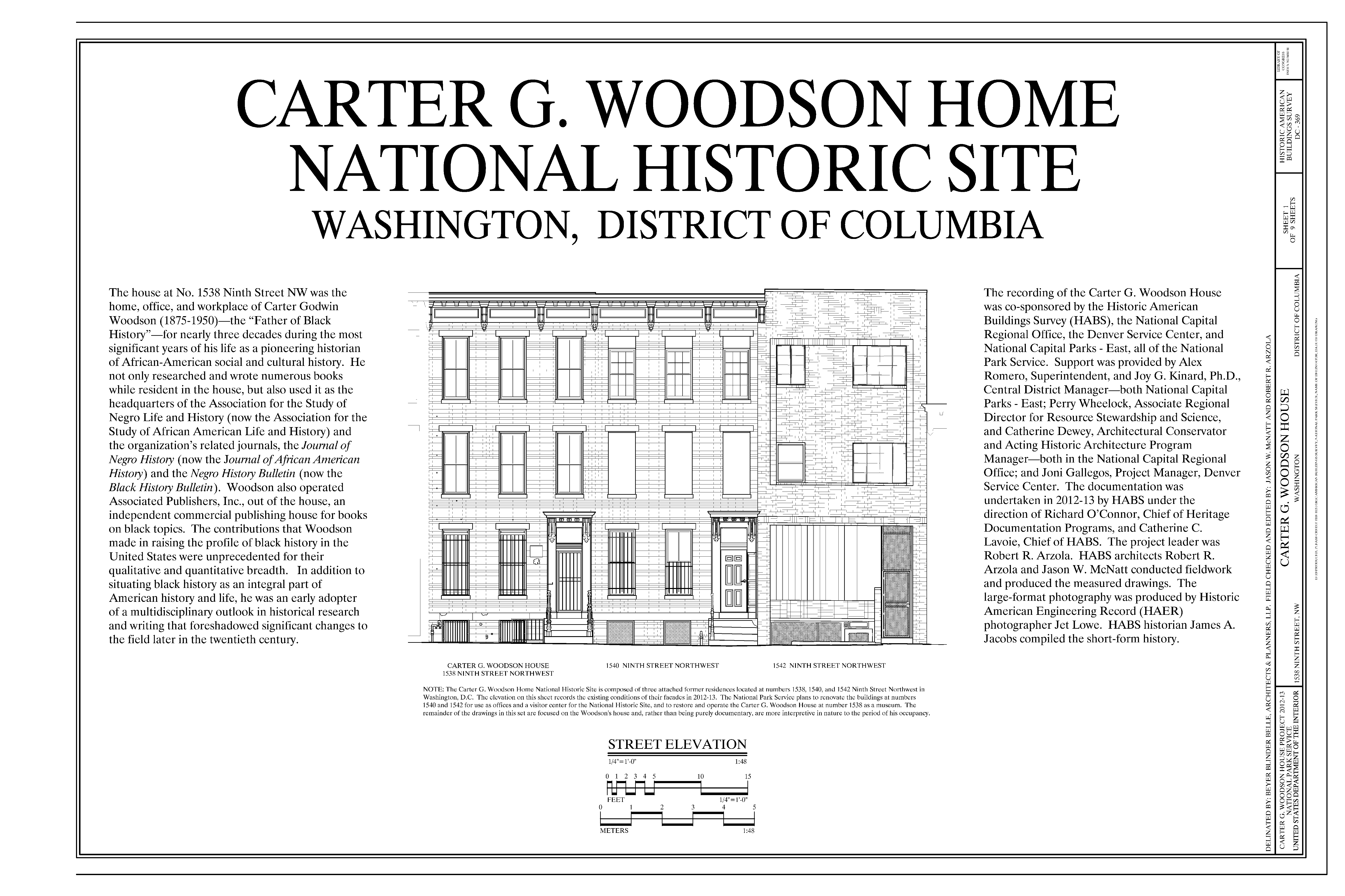 A photograph and drawing of the Carter G. Woodson House at 1538 Ninth Street N.W. Washington, D.C.  Historic American Buildings Survey,  Prints and Photographs Division.