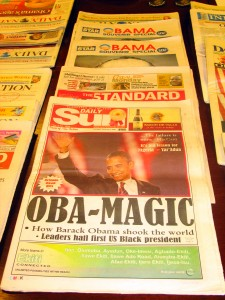 A sampling of African newspapers with Obama's election headlines. African and Middle Eastern Division.