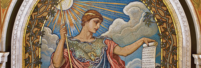 "Elihu Vedder's mosaic of ""Minerva"" on the second floor of the Thomas Jefferson Building depicts the goddess of wisdom and peace. Carol M. Highsmith Archive, Prints and Photographs Division"