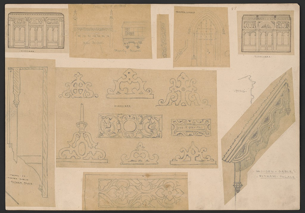 "Top left, three-bay interior wall elevation with coupled arched openings and a central doorway framed by four pilasters; top right, alternative scheme, here with an arched central doorway; middle, seven elevation details for parapets and decorative panels including one with the Carnarvon family motto: ""Ung je serverai,"" old French for ""One will I serve."" Prints and Photographs Division."