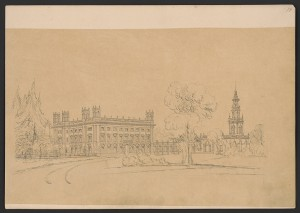 Highclere Castle, 9-bay perspective study in the Italianate style with small corner towers and a large separate tower. Prints and Photographs Division.