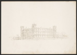 Highclere Castle, 13-bay perspective study in an Elizabethan style with larger corner towers and no central entrance. Prints and Photographs Division.