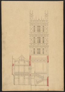 Elevation of Barry's new central tower in an Elizabethan style above a section of the principal staircase and entrance hall. Prints and Photographs Division.