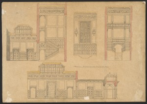 Elevations and sections of Barry's new principal staircase and entrance hall. Prints and Photographs Division.