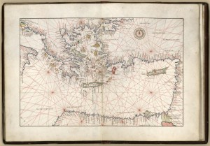 A map depicting the nautical charts of the Eastern Mediterranean in the middle of the 16th century. By Battista Agnese, 1544. Geography and Map Division.