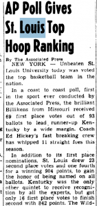 Newspaper from Jan. 18, 1949, indicating the first AP Poll. Library of Congress.