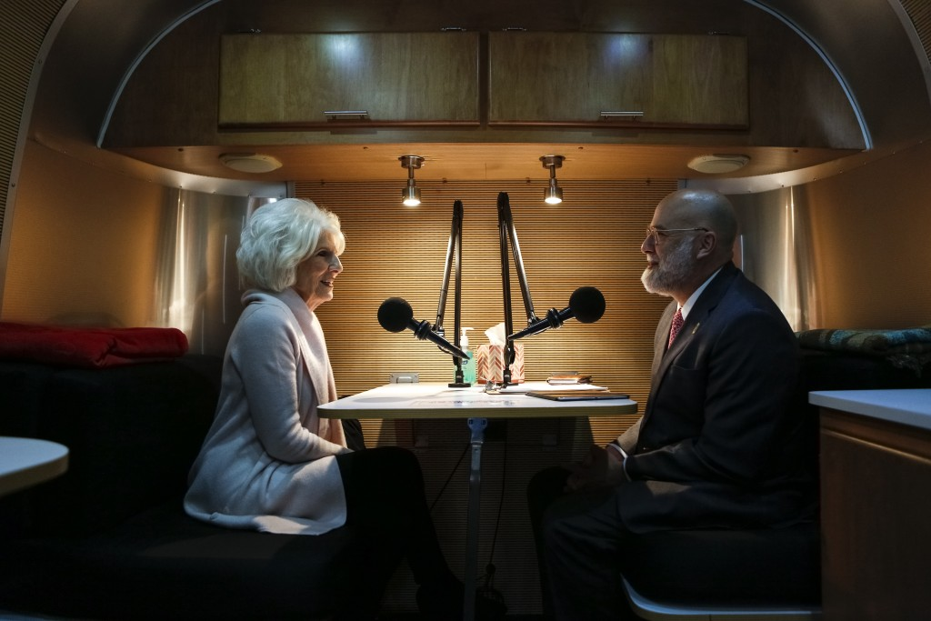 NPR host Diane Rehm and her son David conduct an interview in the StoryCorps MobileBooth. Photo by Shawn Miller.