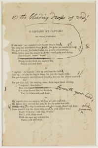 "1888 printed copy of Whitman's ""O Captain! My Captain!"" with Whitman's handwritten corrections. Manuscript Division."
