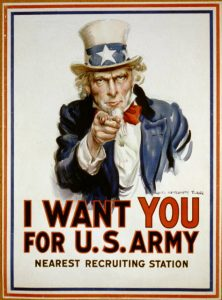 "Iconic World War I poster showing Uncle Sam with the famous phrase ""I want you ..."" Prints and Photographs Division."