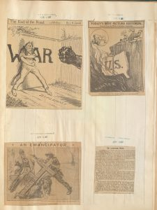 Editorial cartoons from The World (NY), the Boston Journal, and the San Francisco Chronicle, as well as an article from the Brooklyner Freie Presse, a German-language newspaper. All dated April 6, 1917, the day the U.S. declared war on Germany. Serial and Government Publications Division.
