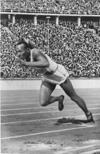 Jesse Owens begins his record-breaking 200 meter race at the 1936 Olympics in Berlin. Prints and Photographs Division.