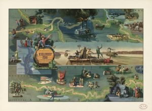 Based on the novel by Mark Twain, this pictorial map by Everett Henry shows Huckleberry Finn's adventures on the Mississippi River. Cleveland, Ohio: Harris-Intertype Corp., 1959. Geography and Map Division