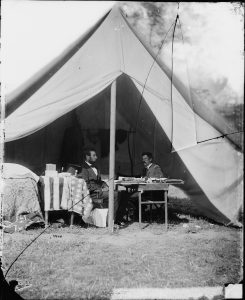 "The Library's online Civil War photographs, like this one of President Abraham Lincoln and General McClellan on Antietam battlefield, were used to create the sets for filmmaker Salvador Litvak's 2013 film, ""Saving Lincoln."""