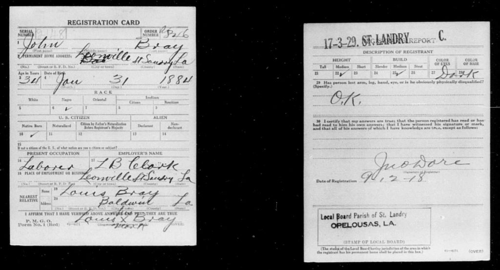 John Bray's draft registration for World War I. National Archives and Records Administration.