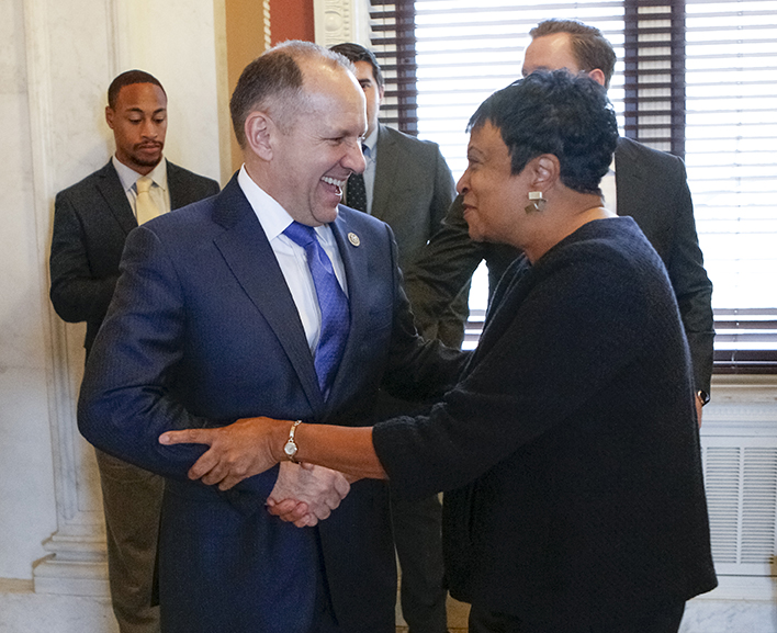 Carla Hayden greets Rep. Lloyd Smucker in the Members Room. Photo by Shawn Miller.