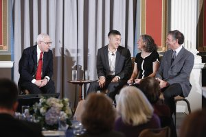 Literacy Awards benefactor David Rubenstein interviews 2016 award winners Allister Chang of Libraries Without Borders, Sarah Walzer of the Parent-Child Home Program and Noel Gunther of WETA Reading Rockets on October 27, 2016. Photo by Shawn Miller.