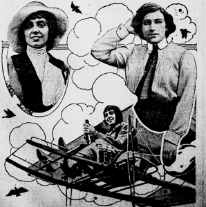 "Photo published with story ""Brave Women of Europe Risk Their Lives as Aviators,"" Grand Forks Daily Herald, Aug. 2 , 1915"