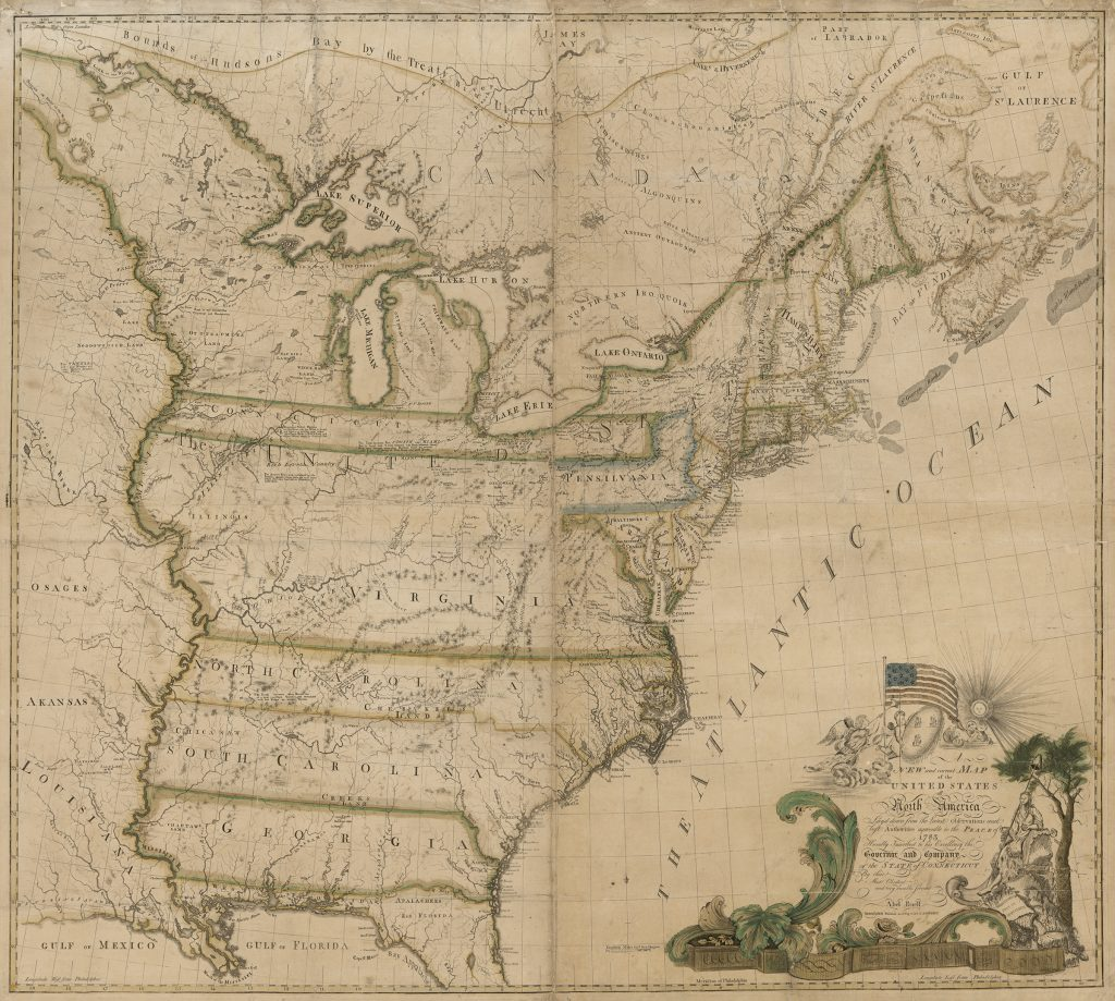 Abel Buell's New and Correct Map of the United States, 1784. On deposit to the Library of Congress from David M. Rubenstein.