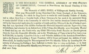 Buell's petition to the General Assembly of Connecticut, 1769.