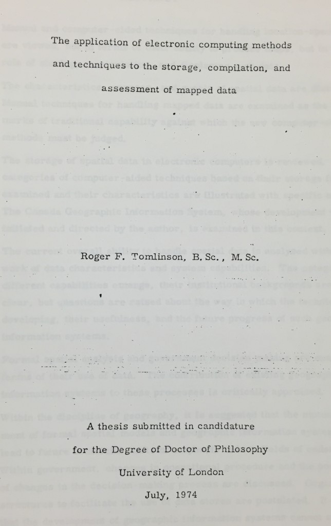 Title Page from Roger Tomlinson's Dissertation. Geography and Map Division, Library of Congress.