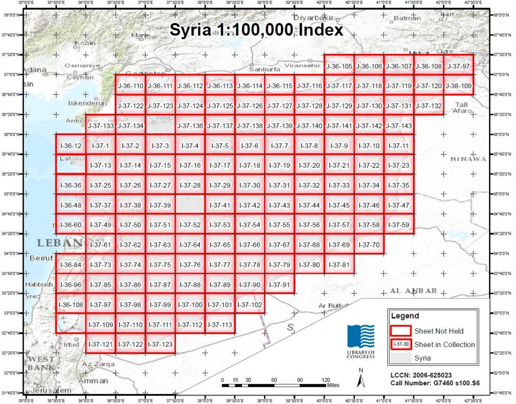 An index of Syria produced by the Geographic Hotspot Dynamic Indexing Project. Geography & Map Division, Library of Congress.