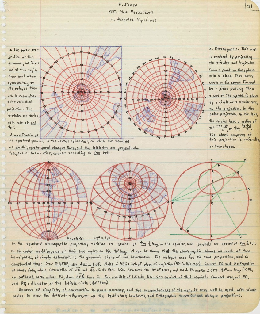 Page from John Snyder's Projection notebook that dates from when he was 16 years old. Geography and Map Division, Library of Congress.