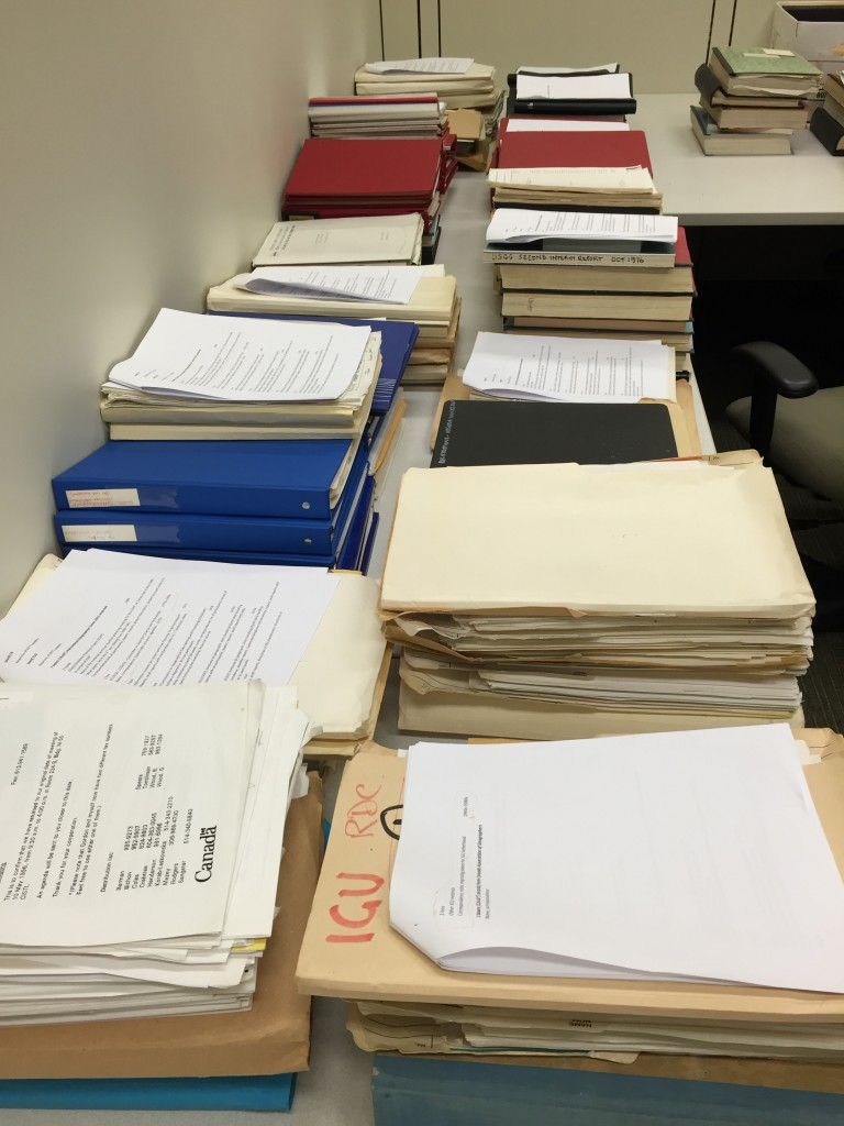 A Portion of the Roger Tomlinson Archive in the collection processing room of the History of Computer Cartography Project. Geography and Map Division, Library of Congress.