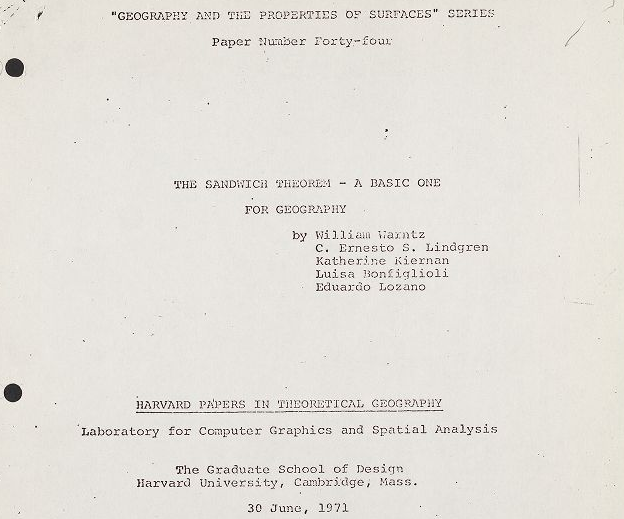 Title Page of the Sandwich Theorem: a basic one for geography. Geography and Map Division, Library of Congress