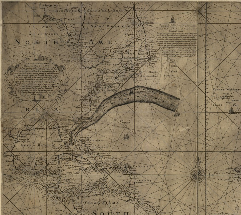 [Franklin-Folger chart of the Gulf Stream]. 1768. Geography and Map Division, Library of Congress.