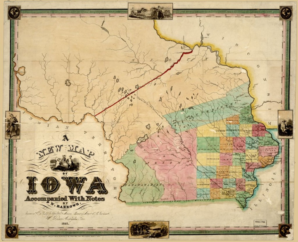 "Willard Barrows, ""A New Map of Iowa."" 1845. Geography & Map Division, Library of Congress."