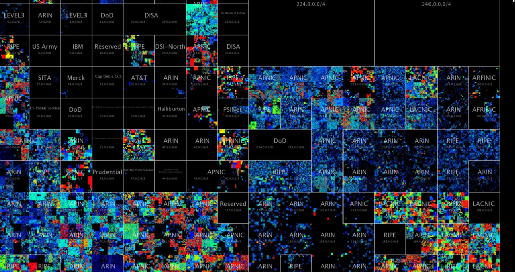 Slightly zoomed view of some of the regions of the Hilbert map of the web inhabited by various companies, government agencies and blank repsonse regions. Courtesy ANT Lab