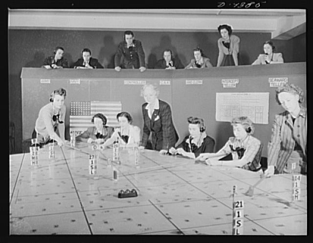 Women plotting aircraft positions. 1943. Farm Security Administration - Office of War Information Photograph Collection, Library of Congress.