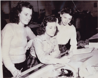 Army Signal Corps training in Aberdeen, Maryland. 1942. From left to right: Vivian Johnston Goddin, Katherine Novotny, Dene Miller. Library of Congress, Geography & Map Division.