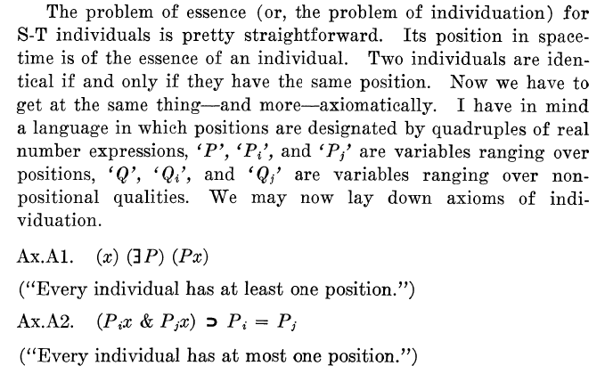 Section from Wilson's Space, Time and Individuals Papers laying out the initial formal axioms for an object in space-time.