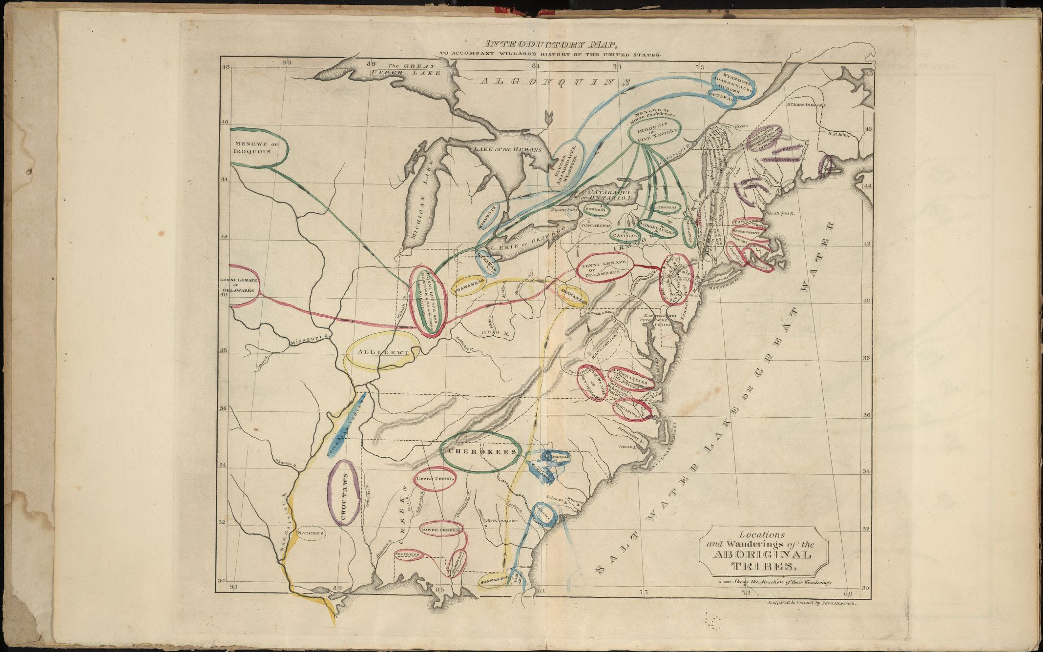 "Locations and Wanderings of the Aboriginal Tribes. 1828. From her ""Series of maps to Willard's History of the United States, or, Republic of America. Designed for schools and private libraries."" Geography & Map Division, Library of Congress."