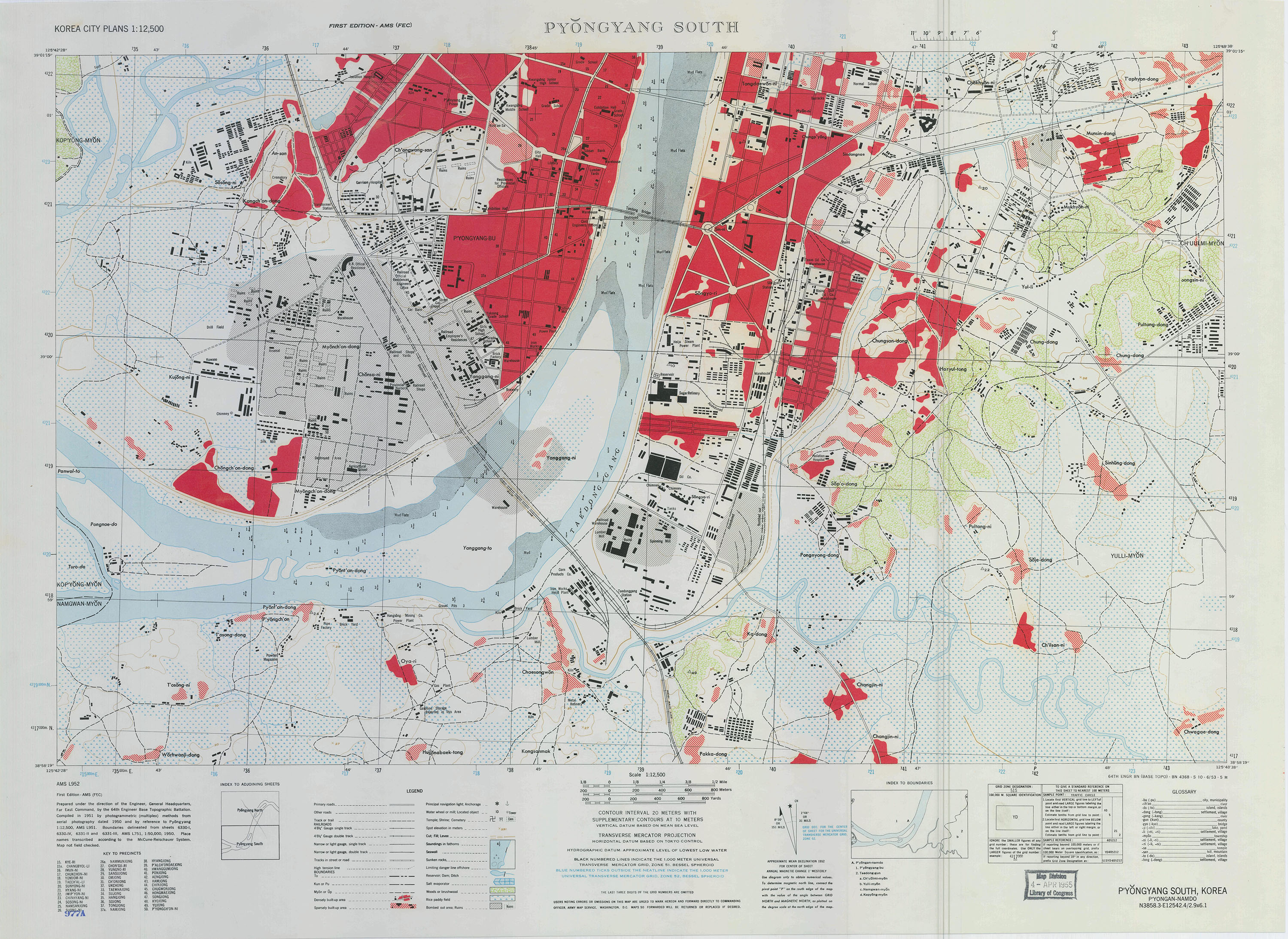 Map 2 – Army Map Service depiction of Pyongyang in 1953. Library of Congress, Geography & Map Division.