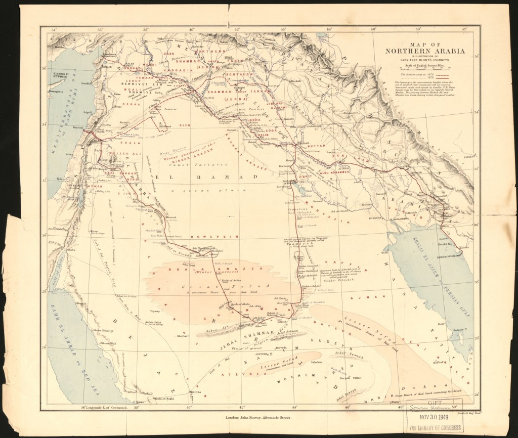 """Map of northern Arabia : in illustration of Lady Anne Blunt's journeys."" 1949. Library of Congress, Geography & Map Division."
