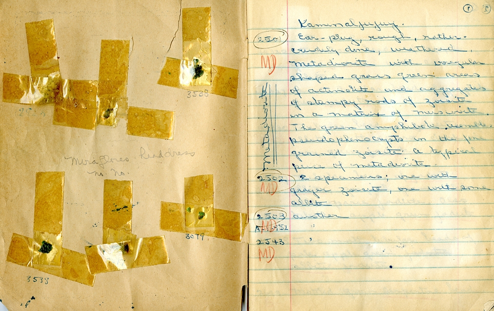 Jade samples preserved in William Foshag's Jade Notebooks. Collections of the Archives of the Smithsonian Institution.