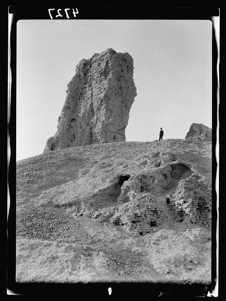 """Iraq. Birs Nimrud. (Possibly the Tower of Babel). Tower of Babel. So called. A tall brick tower with sections of fused bricks."" 1932. Library of Congress, Prints & Photographs Divison."