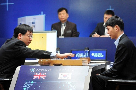 Aja Huang making the first move for Alphago, Lee Sedol, one of the greatest players in the 3000 history of the game. Image courtesy of Google's DeepMind.
